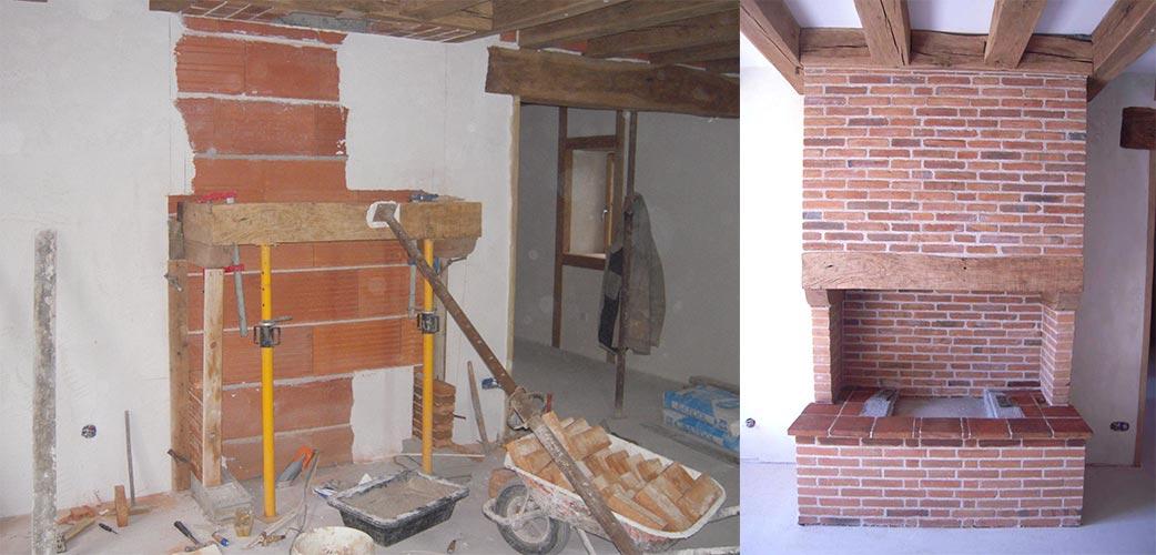 Construction d'une cheminée en brique - Avant Après