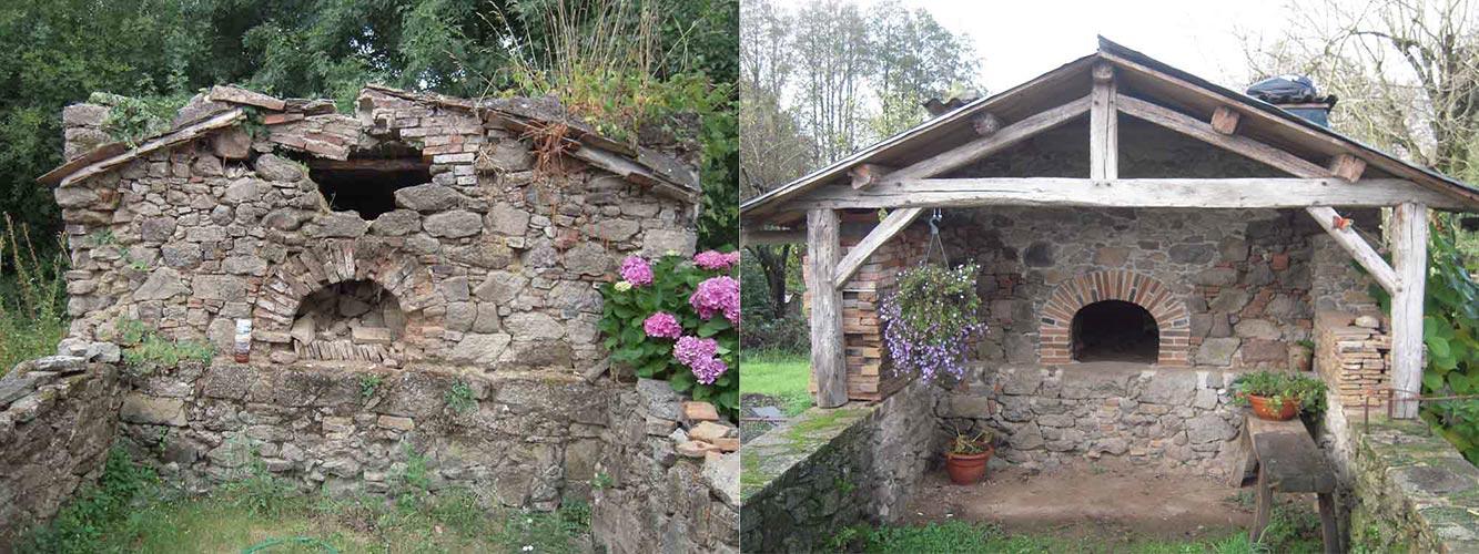 Restauration d'un four en maçonnerie de pierre - Avant Après