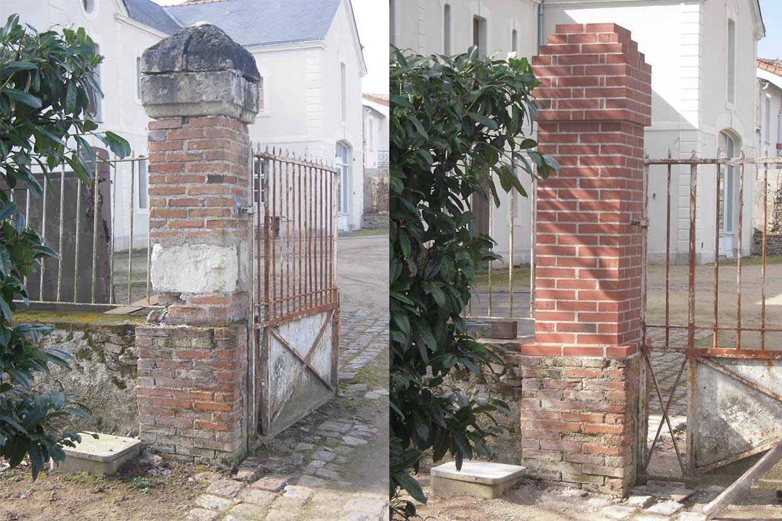 Rénovation de piliers d'entrée - Avant Après
